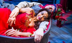 Ayesha Dharker as Titania and Chris Clarke as Bottom in A Midsummer Night's Dream in Stratford.