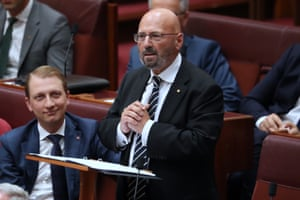Liberal senator Arthur Sinodinos gives his final speech in the Senate chamber of Parliament House