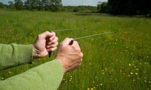 Water divining or dowsing. By holding the two rods in ones hands and walking across an area, one can search for water etc.G3PF8N Water divining or dowsing. By holding the two rods in ones hands and walking across an area, one can search for water etc.