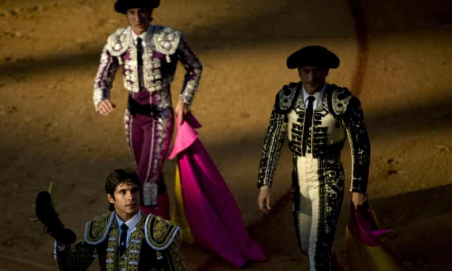 Sebastián Castella holds up two bull ears in the Algeciras bullring in southern Spain.