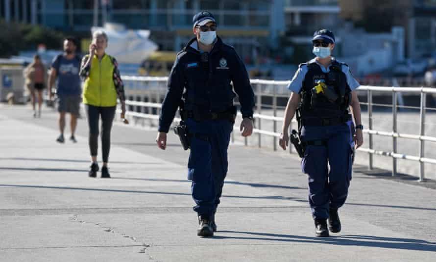 Police patrol Bondi beach in Sydney