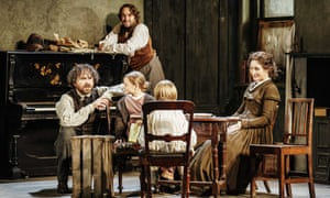 A natural life-enhancer … Rory Kinnear as Marx, Oliver Chris as Engels, Nancy Carroll as Jenny, and Harriet and Rupert Turnbull as the Marx children.