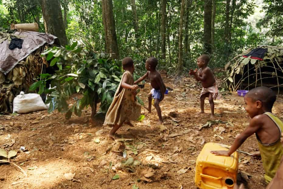 Children mimic the hunting ceremony