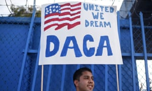 A Daca recipient protests in Los Angeles, California, against Trump's decision to end the program.