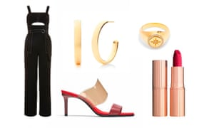 Jumpsuit, £69, topshop.com Mules, £49.99, zara.com Earrings, £150, monicavinader.com Ring, £180 by Theodora Warre from matchesfashion.com Lipstick in The Queen, £24, charlottetilbury.com