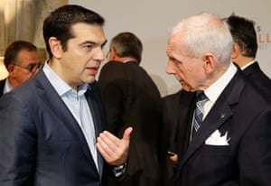Valletta Summit on Migration<br>epa05021677 Greek Prime Minister Alexis Tsipras (L) chats with the Director General of the International Organization for Migration William Lacy Swing (R) prior to the second day of the Valletta Summit on Migration 2015, in Valletta, Malta, 12 November 2015. European and African leaders meet in Malta for a two-day migration summit, as Europe struggles to stem the flow of people attempting to reach its shores. EPA/ARMANDO BABANI