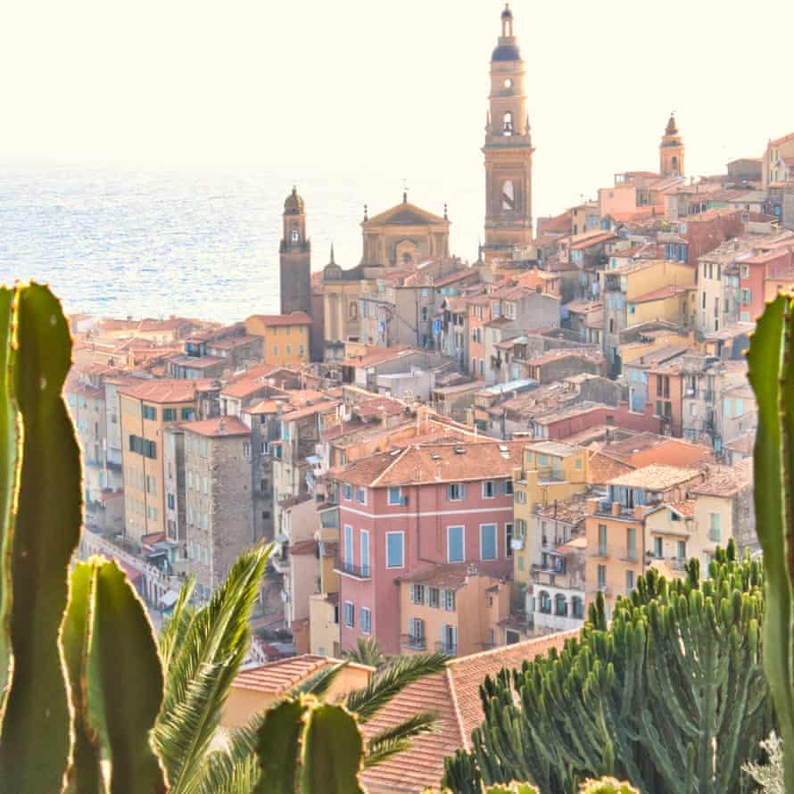 View of Menton, France, on a sunny day.