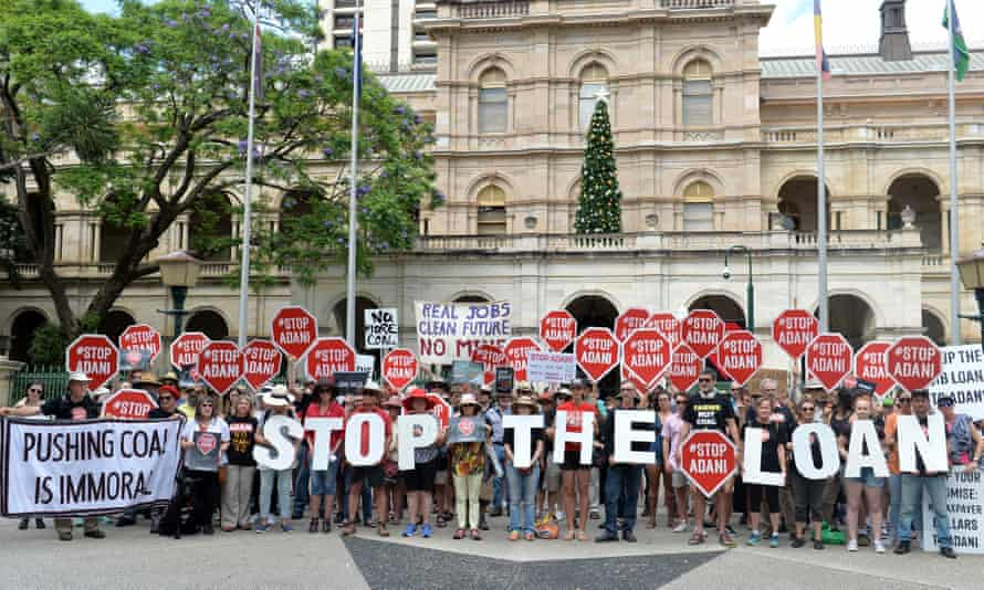Anti-Adani activists protests outside Queensland's Parliament House.