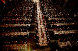 The 2011 Nobel Prize laureates sit on the central table with Swedish royals and other guests during the prize banquet at the town hall in Stockholm.