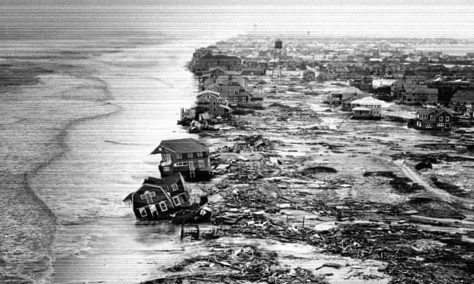 Homes destroyed by a storm in New York state in 1962.