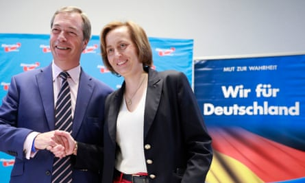Nigel Farage, with the AfD's Beatrix von Storch after a press conference in Berlin.
