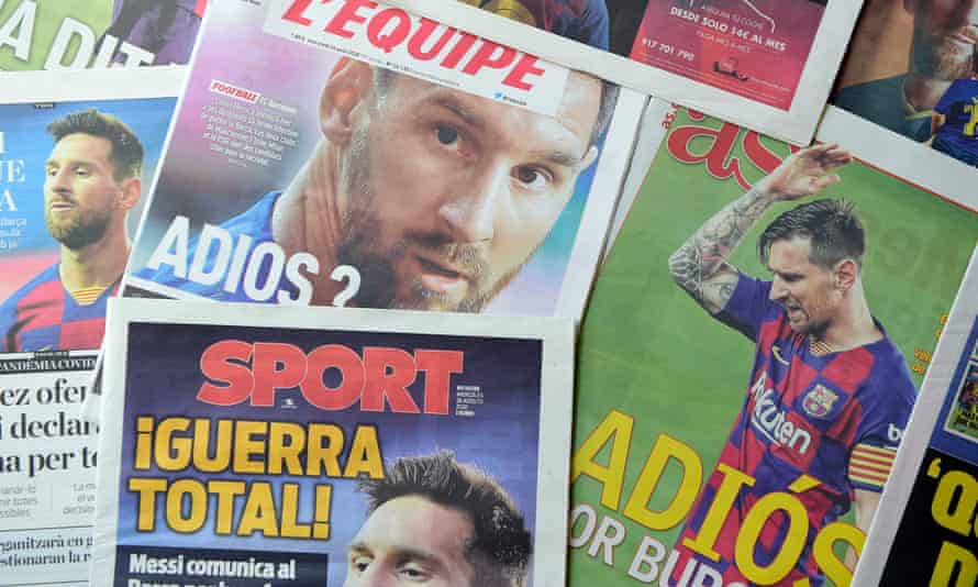 Newspapers report Lionel Messi's transfer request, which was lodged with Barcelona on Tuesday.