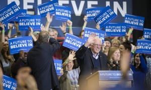 Bernie SandersDemocratic presidential candidate Sen. Bernie Sanders, I-Vt., waves to the crowd during a campaign stop at Great Bay Community College, Sunday, Feb. 7, 2016, in Portsmouth, N.H. (AP Photo/John Minchillo)