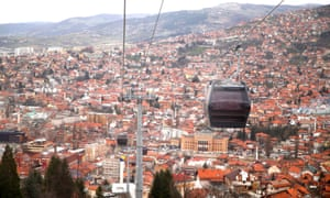 The Trebević cable car on a test run over the city this week.