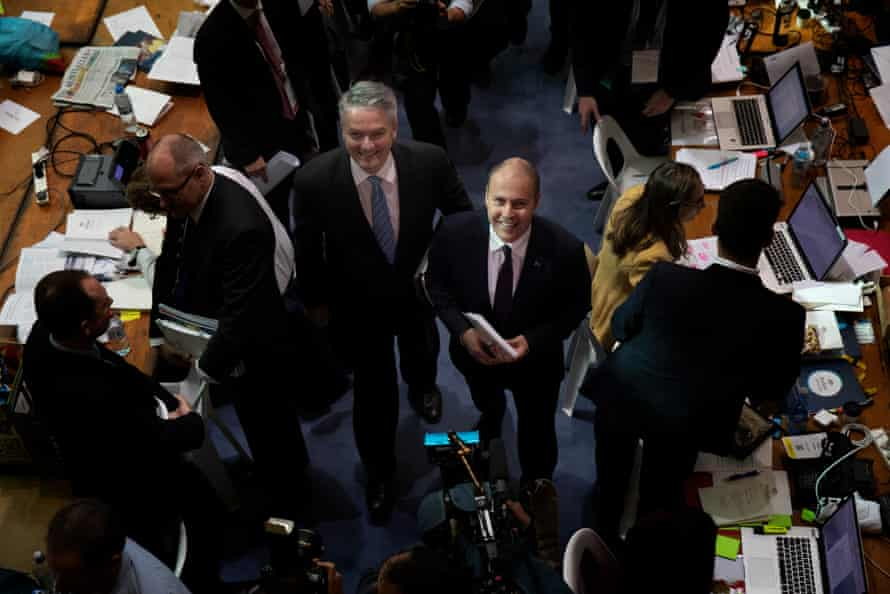 The treasurer, Josh Frydenberg, and the finance minister, Mathias Cormann, in the budget lock-up in Parliament House.