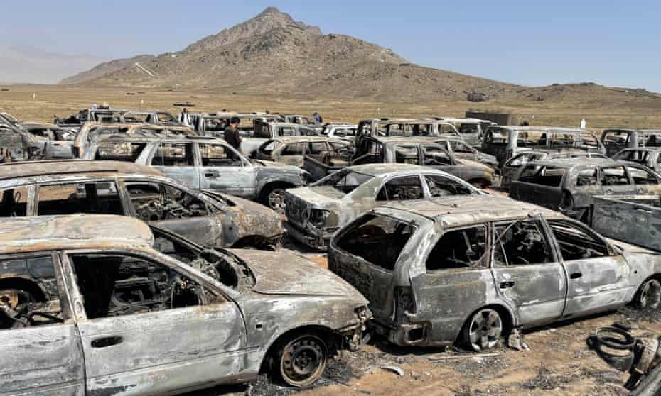 The burnt-out remains of cars, minibuses and armoured vehicles at the CIA secret base.