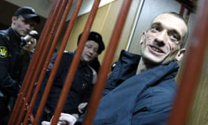 Petr Pavlensky in a Moscow court, charged with setting fire to the entrance door to the FSB building.