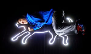 Joshua Jenkins (Christopher Boone) in the Melbourne Theatre Company's adaption of The Curious Incident of the Dog in the Night-Time Tour.