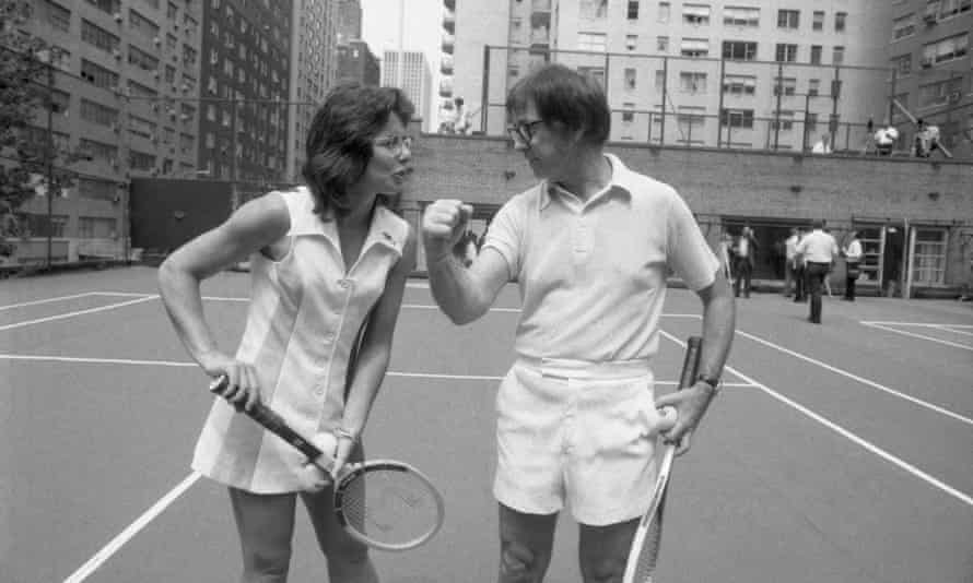 King with 55-year-old Bobby Riggs ahead of the match.