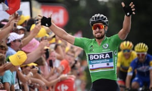 Peter Sagan celebrates as he crosses the finish line to win the fifth stage.