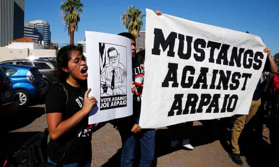 Students demonstrate against Arizona's sheriff Joe Arpaio on election day in Phoenix.
