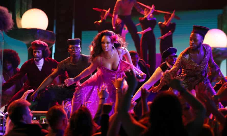 Rihanna performs performing at the Grammys last year. She has reportedly turned down a chance to sing at the Super Bowl half-time show.