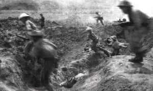 VIETNAM-FRANCE-WAR-50-FIGHTING<br>This picture taken 14 April 1954 shows Vietminh soldiers assaulting French positions at Muong Thanh airport at the Dien Bien Phu battlefield. Vietnam will mark 13 March 2004 the 50th anniversary of the start of the siege of Dien Bien Phu, the epic battle that precipitated the collapse of French colonial rule in Indochina. The fighting began March 13, 1954, and 56 days later, 07 May, shell-shocked survivors of the French garnison hoisted the white flag to signal the end to one of the greatest battles of the 20th century.  EDITOR'S NOTE: THE VAST MAJORITY OF VIETNAMESE PHOTOS OF THE BATTLE ARE RECONSTRUCTIONS DONE FOR THE PURPOSE OF PROPAGANDA. MOST OF THEM WERE TAKEN JUST HOURS AFTER THE ACTUAL EVENTS DEPICTED.      AFP PHOTO/VNA/FILES        (Photo credit should read AFP/AFP/Getty Images)