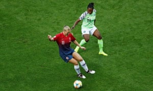 Norway's Lisa-Marie Utland in action with Nigeria's Faith Michael.