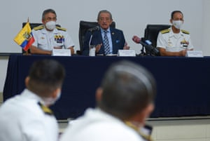 Ecuador's defence minister, Oswaldo Jarrin, flanked by navy admirals, at a press conference, in the port city of Guayaquil, about the Chinese fleet operating near the Galapagos Islands.
