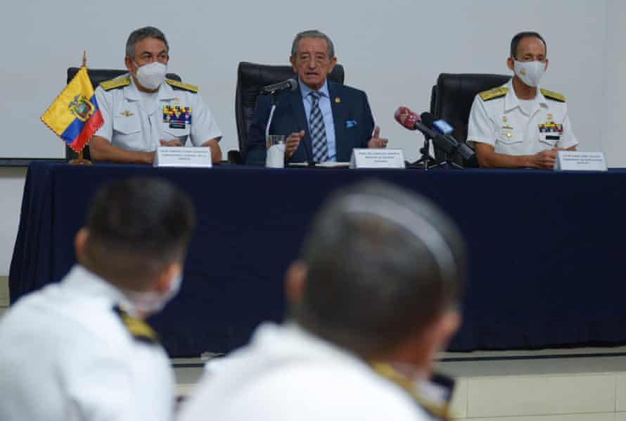 Ecuador's defence minister, Oswaldo Jarrin, flanked by navy admirals, at a press conference, in the port city of Guayaquil, about the Chinese fleet operating near the Galápagos Islands.