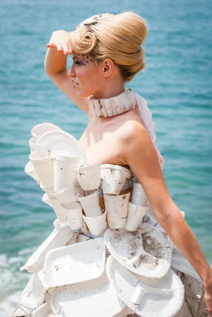 A photo showing clothing by Marina DeBris, who creates fashion from debris which has washed up on the beach. Her work is on show at Festival of the Winds in Bondi, Sydney, Australia in September 2016.