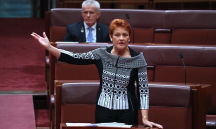 Pauline Hanson in the Senate on Thursday afternoon