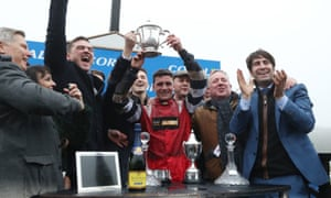 Jack Tudor celebrates his victory on Potters Corner in the Welsh Grand National.