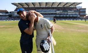 Jos Buttler congratulates Ben Stokes after his innings at Headingley