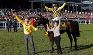 Paul Townend celebrates victory on Al Boum Photo after they won the Gold Cup.