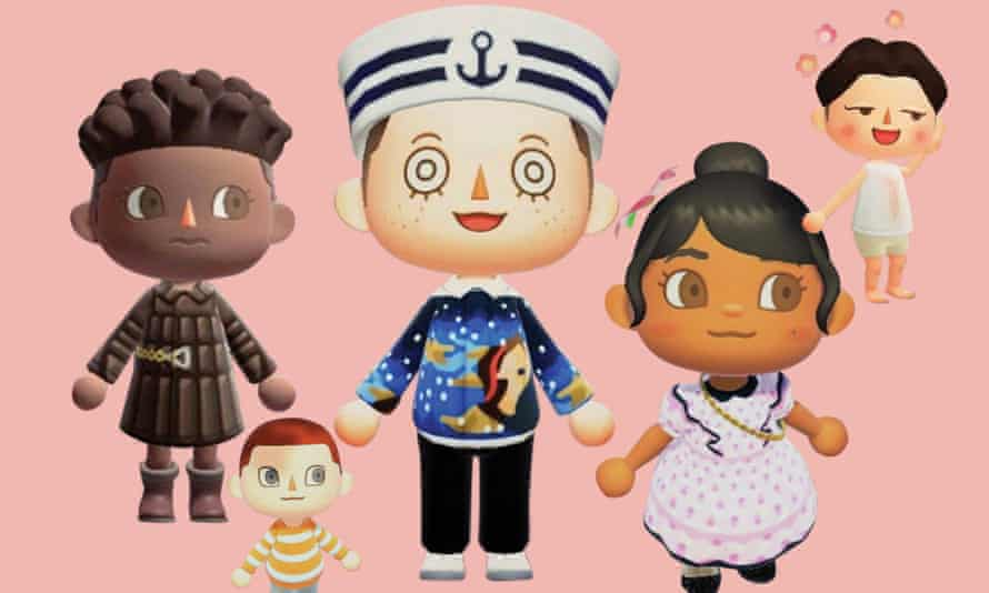 From left to right: a Bottega Veneta AW19-inspired look by Crossing the Runway; a Marc Jacobs-designed Animal Crossing look; a Prada-inspired look by Nook Street Market; another Marc Jacobs designed Animal Crossing look and a Ludovic de Saint Sernin SS20-inspired look by Crossing the Runway