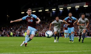 Ashley Barnes of Burnley scores their 3rd goal with a penalty