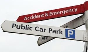 Parking sign at hospital