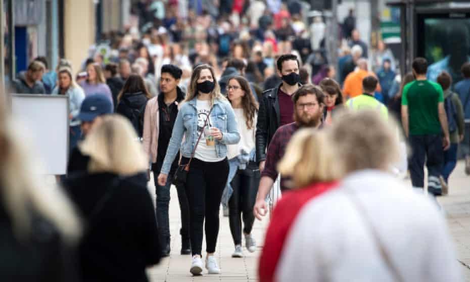 Shoppers wearing face masks in Princes Street, Edinburgh