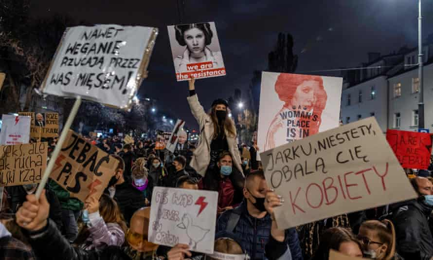 Protesters demonstrate against tightening Poland's already restrictive abortion law, in Warsaw on October 30, 2020.