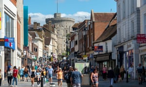 Shoppers in Windsor. Covid rates are on the rise in most areas of England,