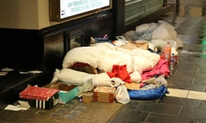 A homeless person sleeping rough in London on Christmas Day.