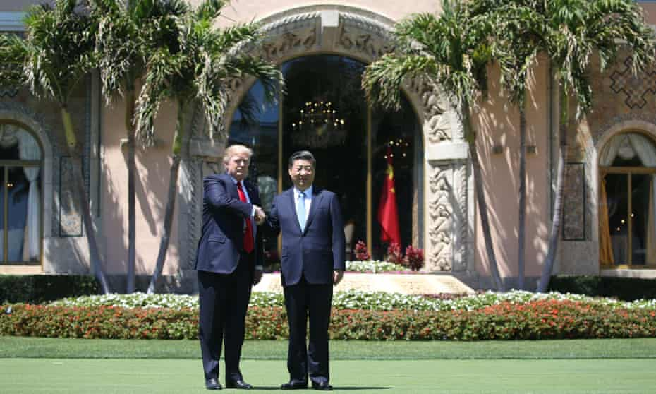 Donald Trump and and Chinese president Xi Jinping at Mar-a-Lago in February.