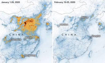 The dramatic fall in concentrations of nitrogen dioxide over China between 1 January and 25 February is related to the coronavirus quarantine, Chinese New Year and an overall economic slowdown.