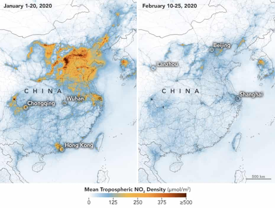 Nasa maps showing the concentrations of nitrogen dioxide (NO2) over China between January and February