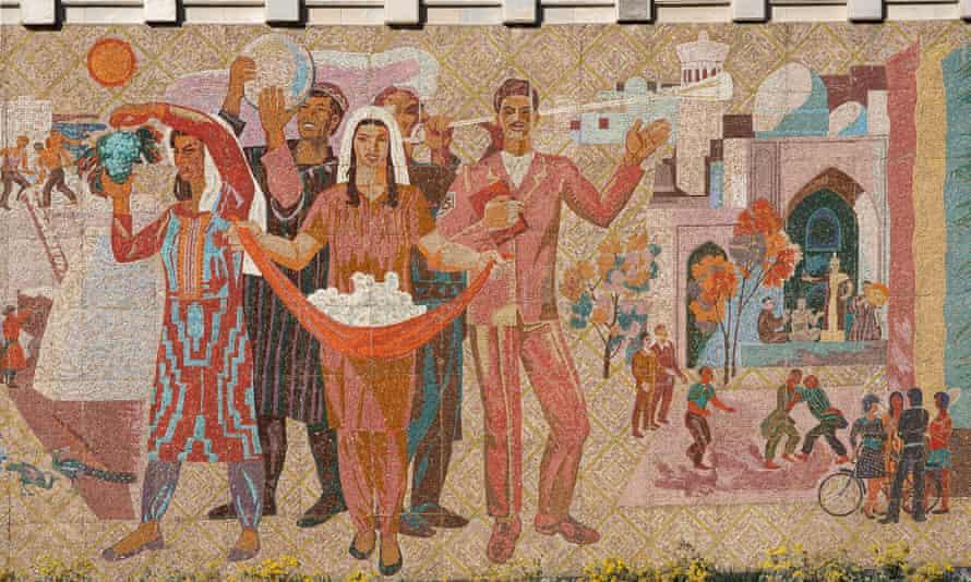 A mosaic at Bukhara railway station.