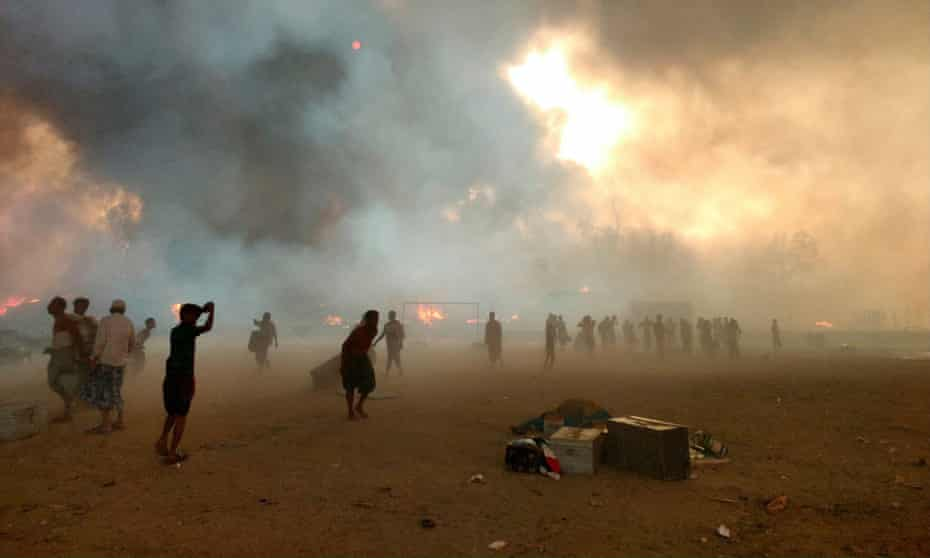 Fire sweeps through the Cox's Bazar refugee camp in Bangladesh.