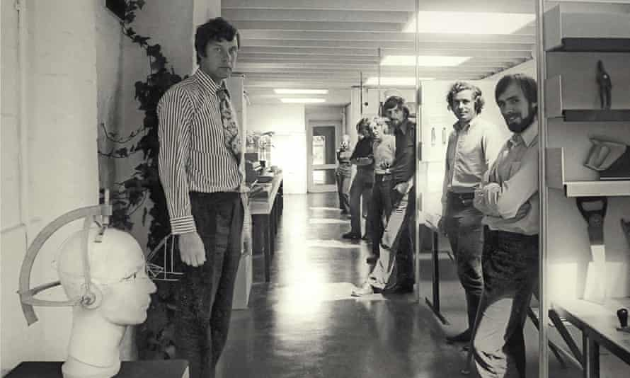 David Carter (left) in the offices of his company, David Carter Associates, around 1970