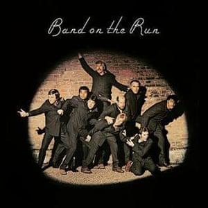 The album cover of Band on the Run, 1973, by Wings, which featured Kenny Lynch and other celebrities.
