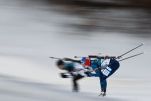 France's Anais Bescond competes in the women's 15km individual biathlon.